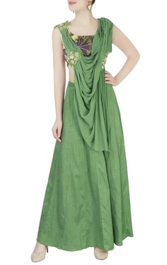 Aharin Green embroidered draped lehenga
