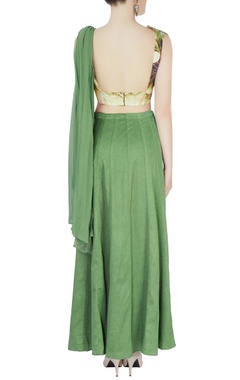 Green embroidered draped lehenga