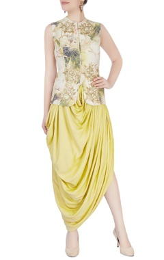 Aharin Yellow printed dhoti set