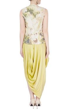 Yellow printed dhoti set