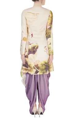 Purple dhoti pants & printed kurta