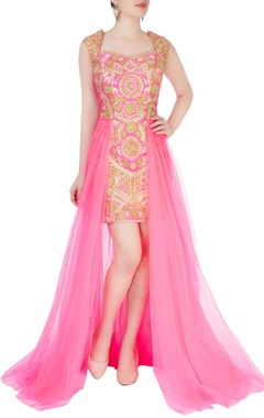 Aharin Pink dress with sheer layer