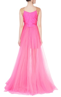 Pink dress with sheer layer