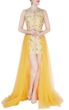 Aharin Yellow embroidered short dress