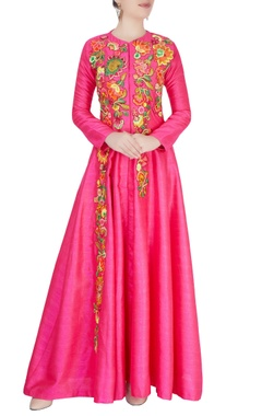 Aharin Pink thread embroidered anarkali