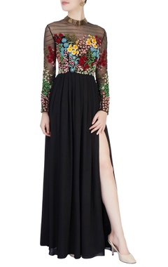 black 3d floral embroidered gown