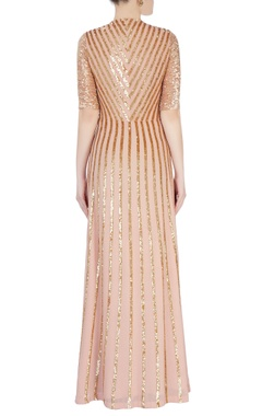 coral pink sequin stripe dress