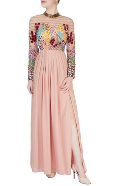 coral pink 3d floral embroidered dress