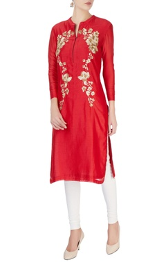Red silver sequin embroidered tunic