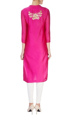 Pink kurta with silver sequin patches