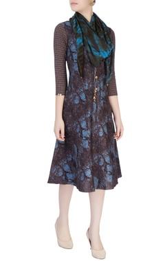 Mayank Anand Shraddha Nigam Blue & brown shift dress
