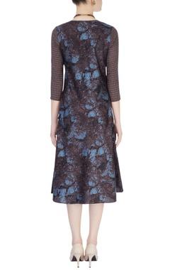 Blue & brown shift dress