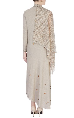 Brown & beige draped style tunic