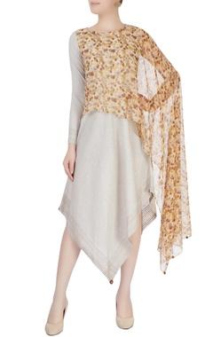 Mayank Anand Shraddha Nigam Brown & beige draped dress