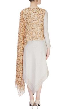 Brown & beige draped dress
