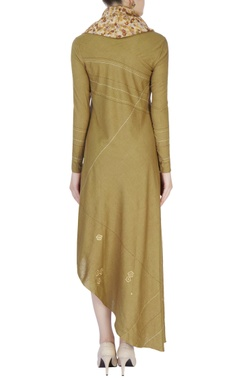 Brown & beige asymmetric tunic