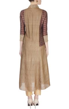 Brown & beige check pattern kurta