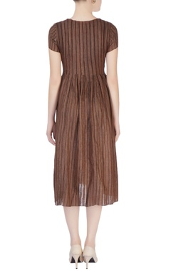 Dark brown pleated tunic
