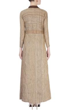 Brown & beige embellished maxi dress
