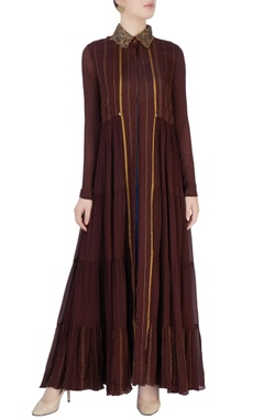 Mayank Anand Shraddha Nigam Brown & beige embellished dress