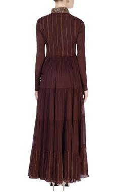 Brown & beige embellished dress