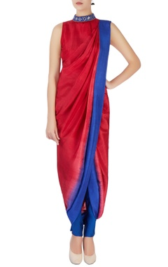 red & blue sari with attached blouse