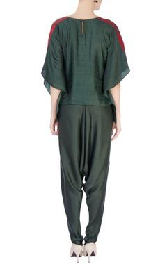 Green leaf motif kaftan blouse