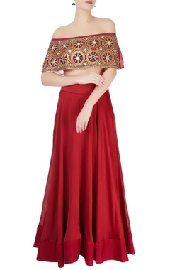 red lehenga & embroidered off-shoulder blouse