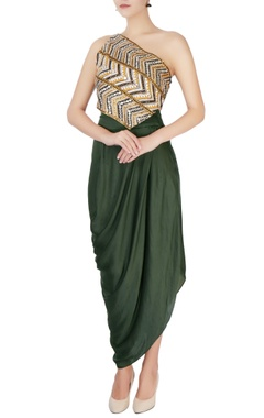 Multicolored top & green sarong style skirt