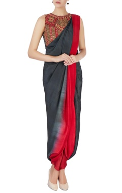 green & red draped sari