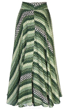 green leaf motif maxi skirt