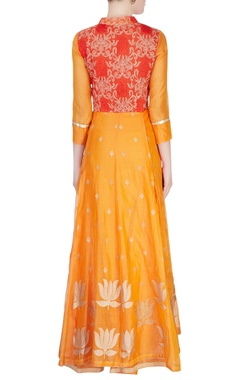 Orange lotus print anarkali