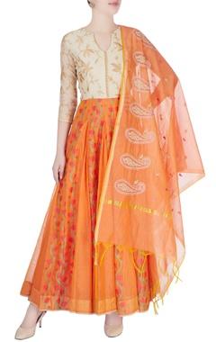 Beige & orange floral anarkali