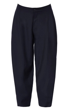 blue chanderi loose fit trousers