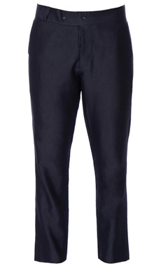 blue formal fitted chanderi trousers