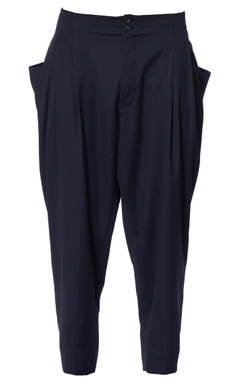 blue chanderi gathered trousers