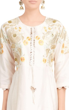 Cream embroidered silk kurta