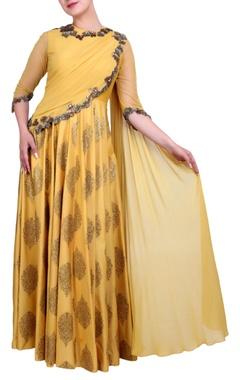 mustard yellow embroidered anarkali dress