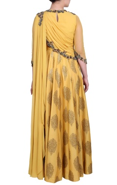Mustard yellow embroidered anarkali dress
