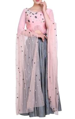 powder pink blouse & grey lehenga