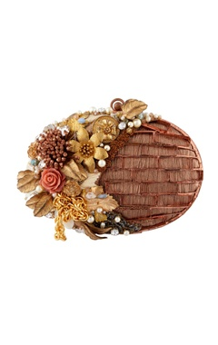 Be Chic Brown hand embroidered brass clutch