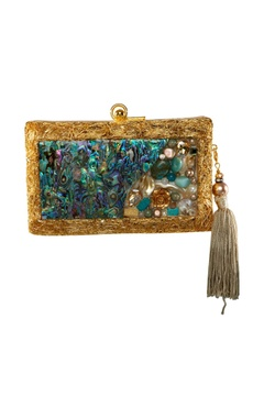 Be Chic Purple & blue stone embellished clutch