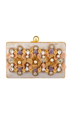 Be Chic Peach &  purple hand embroidered  clutch.