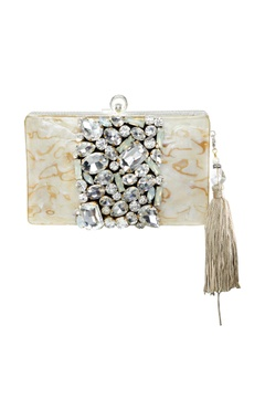 Be Chic Beige clutch with white crystal stones
