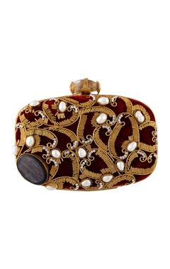 Be Chic Maroon hand crafted brass clutch
