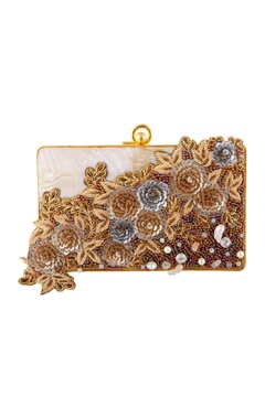 Be Chic White & gold hand embroidered clutch.