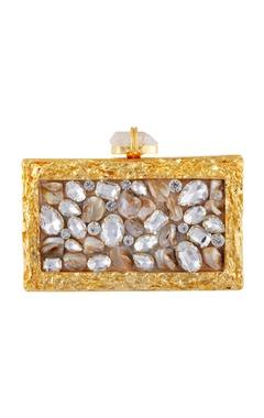 Gold crushed metal clutch
