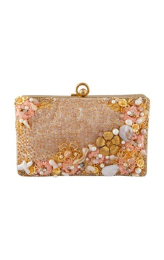 Be Chic Peach & gold hand embroidered clutch