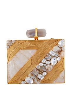 Be Chic Gold & beige handmade brass clutch