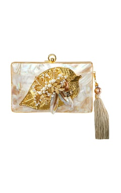 Be Chic White & gold leaf motif clutch